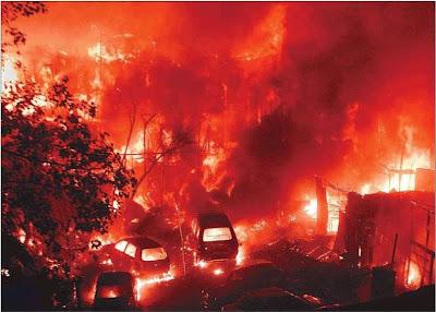 Prakash Nagar Slum Fire Mumbai Dharavi Feb 2008