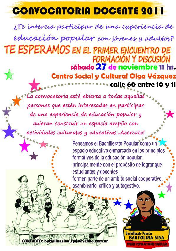 Centro social y cultural olga v zquez convocatoria for Convocatoria para docentes