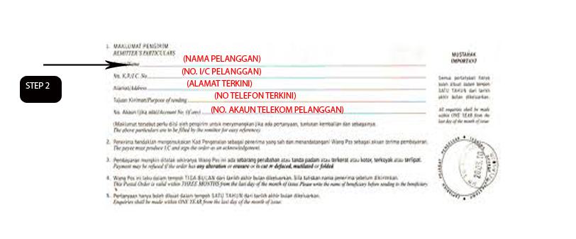 Sila bayar kepada TELEKOM MALAYSIA BERHAD