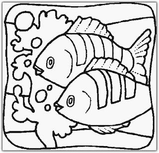 FISHR O fundo do mar para pintar. O mar para colorir. para crianças