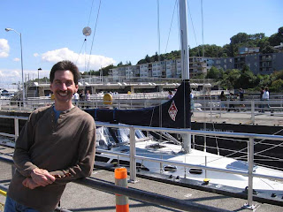Paul Snyder posing in front of a Catalina 320