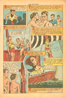 Classics Illustrated comic book, 'The Odyssey by Homer', showing the scene with the Sirens where Ulysses is lashed to the mast