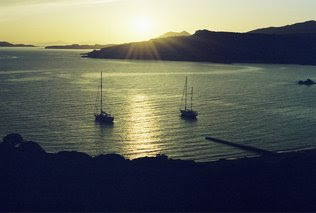 Anchored at Cape Sounion in the shadow of the Temple of Poseidon