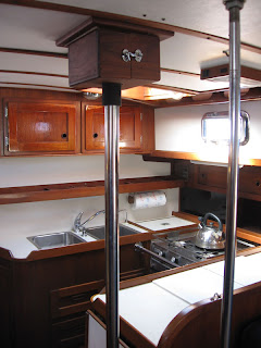 Galley and centerboard cable housing on Otter II, a 1979 Valiant 40 centerboard model
