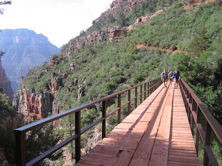 Wes, Jake and Rich crossing one of the bridges on the North Kaibab Trail