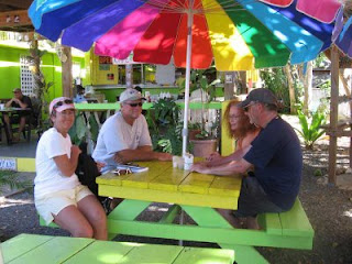 Breakfast at Belly Button's in Esperanza on Vieques: Nan, John, Genie and Dallas