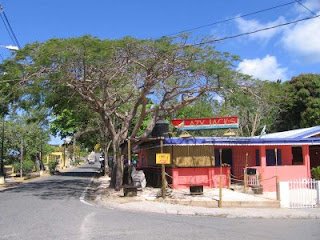 Closed bars and restaurants line the embarcadero in Esperanza on Vieques