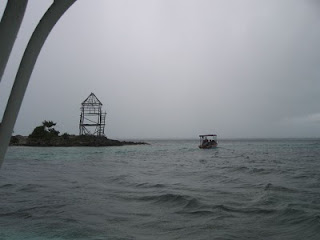 Dark cloud and rain passing over the observation platform near El Ferito on Isla Mujeres
