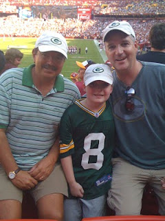 Me, Pete and Curt in our matching Packer caps at the Packers-Redskins game