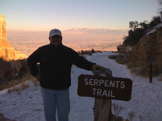 Standing at the top of Serpents Trail in the Colorado National Monument
