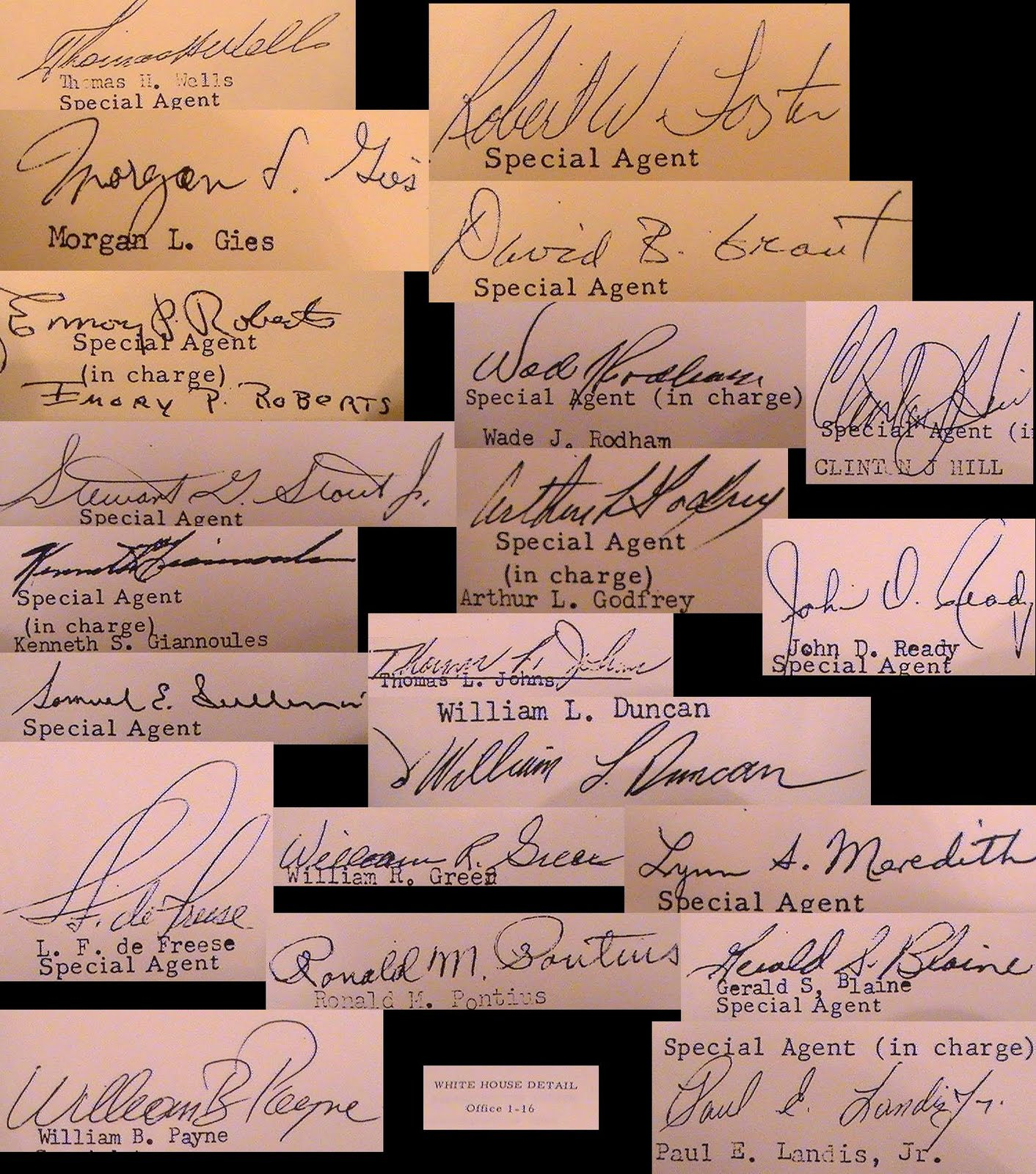 Various Kennedy Detail agent signatures