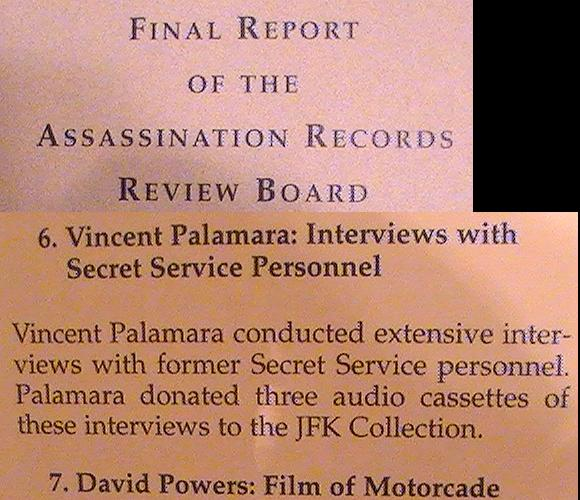 Vince Palamara in the ARRB Final Report given to President Clinton, etc.