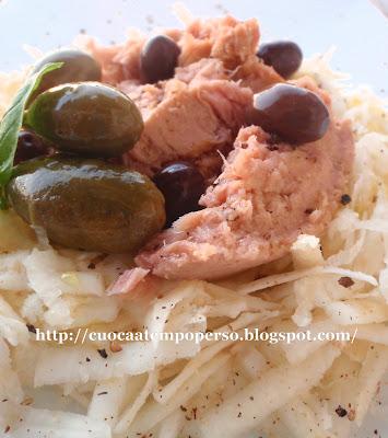 ricetta insalata sedano rapa tonno taggiasche cocunci