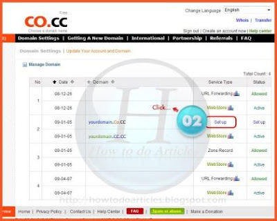 Register and setup domain Free co.cc for Blogger