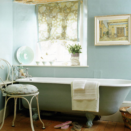 Modern country style case study farrow and ball blue gray for Images of country bathrooms