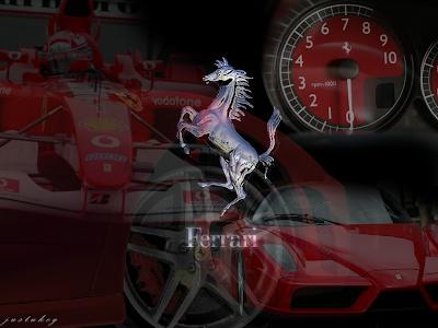 ferrari logo: silver ferrari horse with car and speedometer