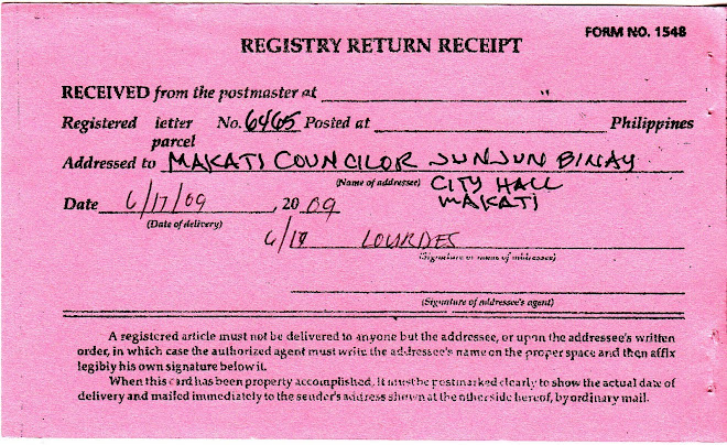 image of registry return receipt of letter addressed to Makati councilor J. J. Binay