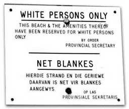 Esta playa e instalaciones están reservadas sólo a blancos