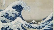 Dibujo del monte Fuji con una ola de Hokusai