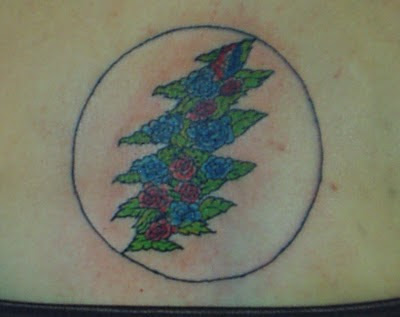 Grateful Dead Tattoos: GD Tattoo #67 Lightning Bolt in Leaf and Flowers