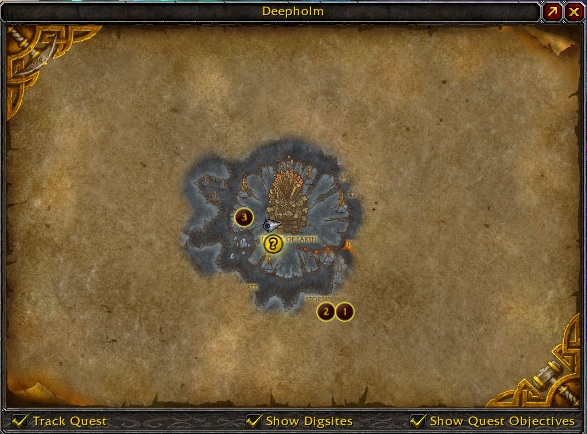 Location of the stonecore on the deepholm map