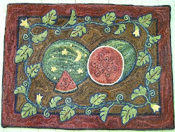 Moon and Stars Watermelon rug