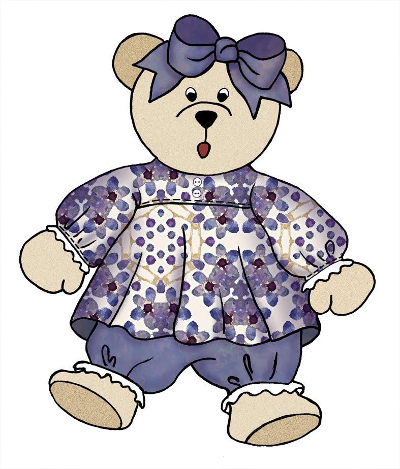 ArtbyJean - Purple Wood Roses: Little Girl Teddy Bears from set A05 ...