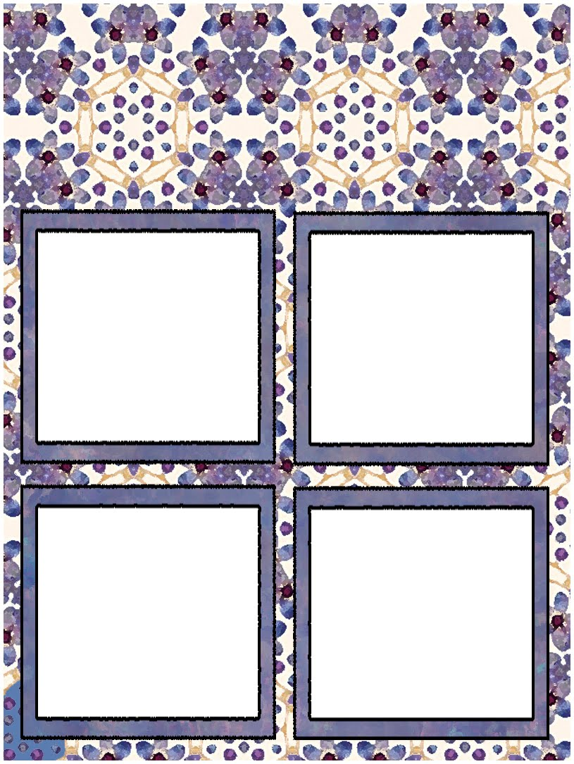 ArtbyJean - Purple Wood Roses: Scrapbook layout pages with four frames.