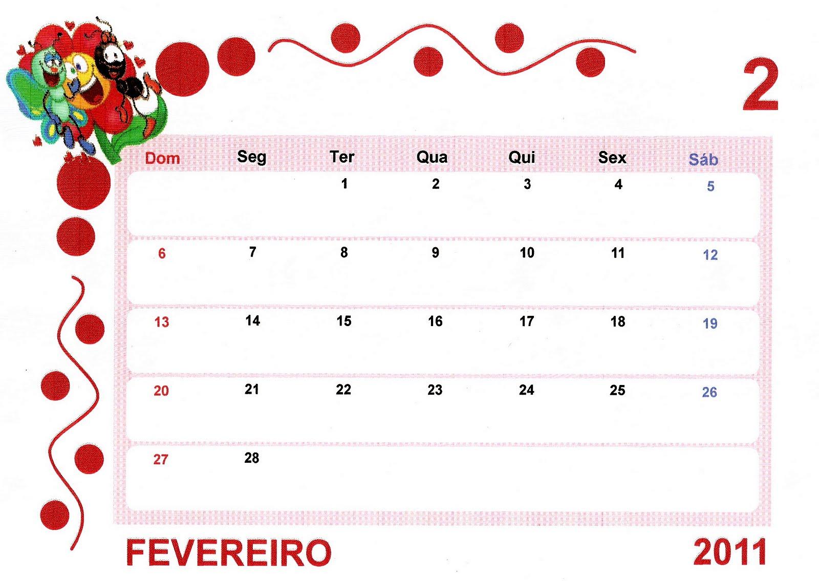 Calendário 2011 para imprimir e pregar no mural