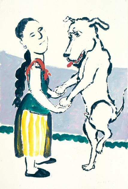 Paula rego, 1986, da série A menina e o cão