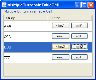 Java swing tips multiple jbuttons in a jtable cell for Design table java swing