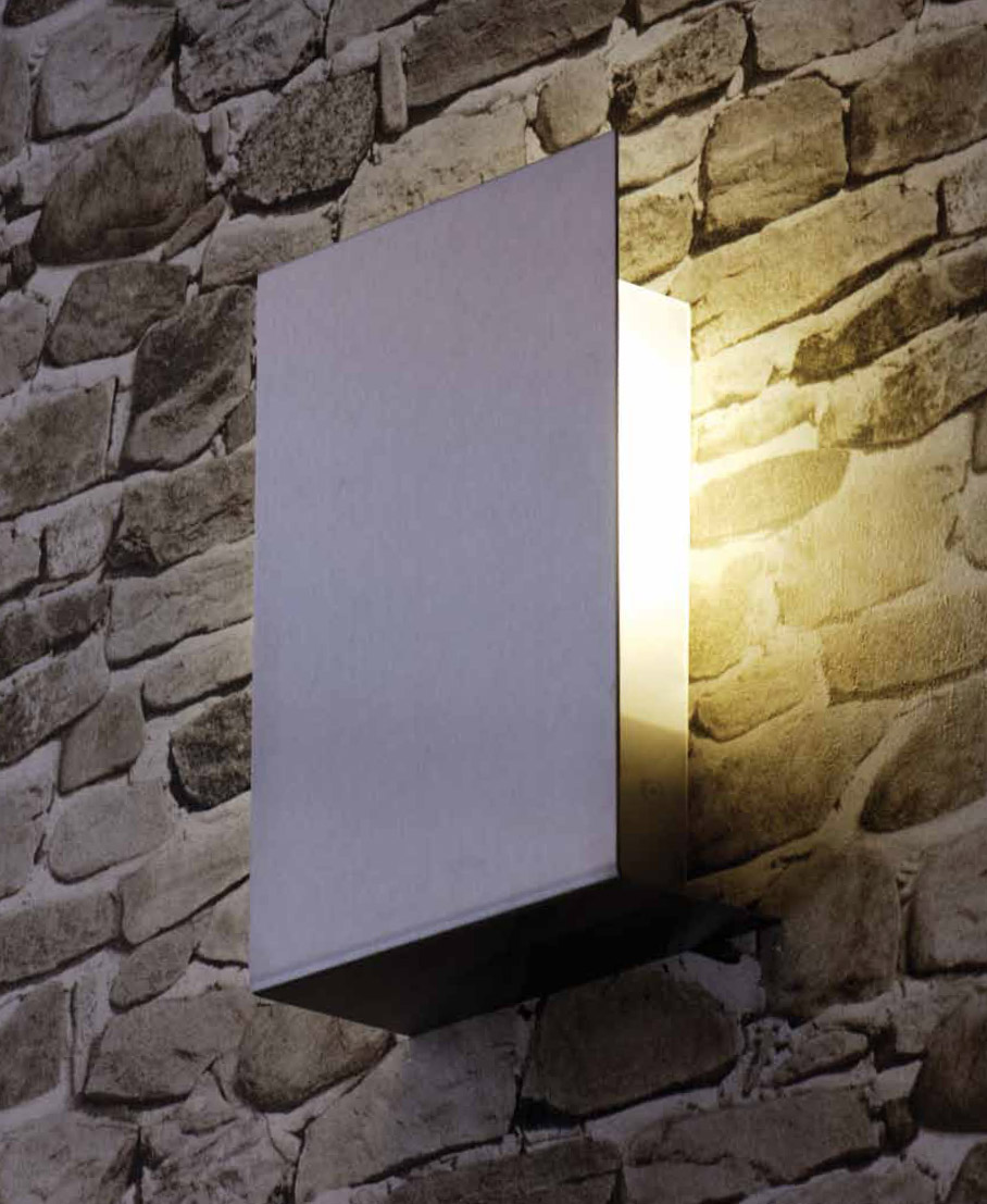 Contemporary modern stainless steel fluorescent outdoor light in minimal rectangular form silver for Modern exterior lamps