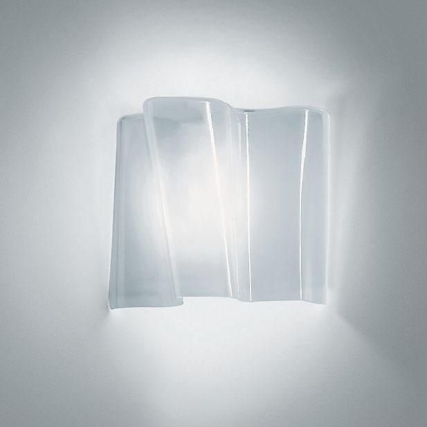 modern interior design: SINGLE modern logico wall sconce in light white hand blown Murano Glass ...