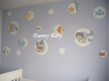 decoração de quarto de bebê de fundo do mar