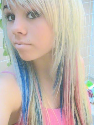 blonde sexy girl emo hairstyle with blue and pink combination