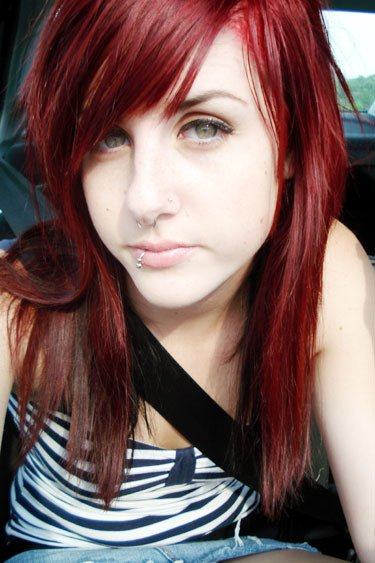 Red emo hairstyle. Popular colors for highlights currently tend to be blue,
