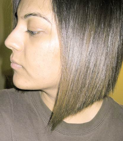 Very cute blunt angled bob on brunette