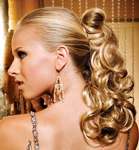 Women ponytail hairstyle with very cool bang looking very funky