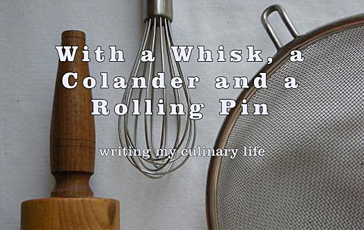 with a whisk, a colander and a rolling pin