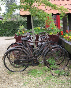Old bicycles in front of Somerleyton Post Office.