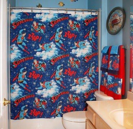 Beau Bathroom Set Made With Vintage Superman Bed Sheet