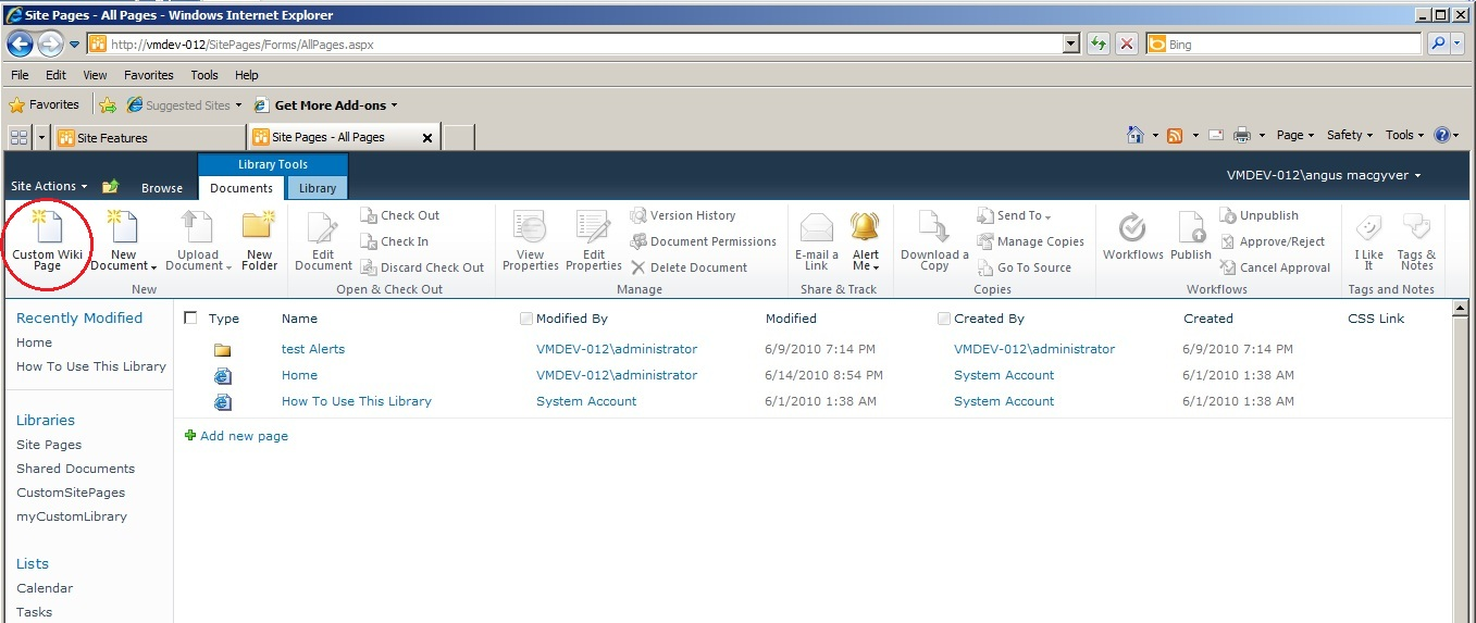 provisioning a custom wiki page within a sharepoint 2010 team site