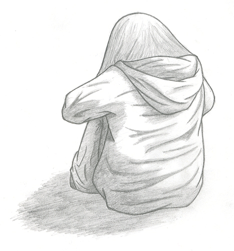 girl crying sketch. petite, naive girl had to