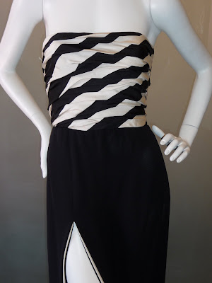 James Galanos black and white strapless evening gown, c. late 1970s.
