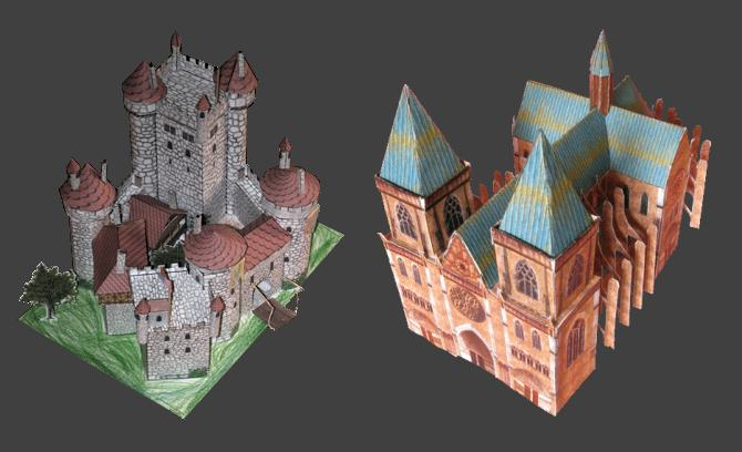 this papercraft castle and cathedral by french papercrafter jonathan ...