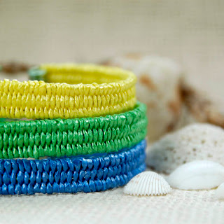 Beach bracelets blue green yellow