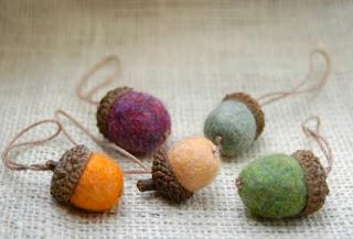 wool felted acorns