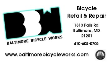 Baltimore Bicycle Works<br>1813 Falls Rd. Baltimore, MD 21201
