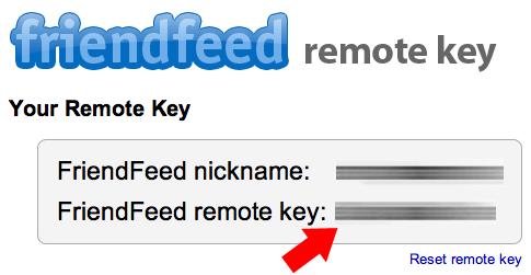 Ekran görüntüsü, FriendFeed Remote Key