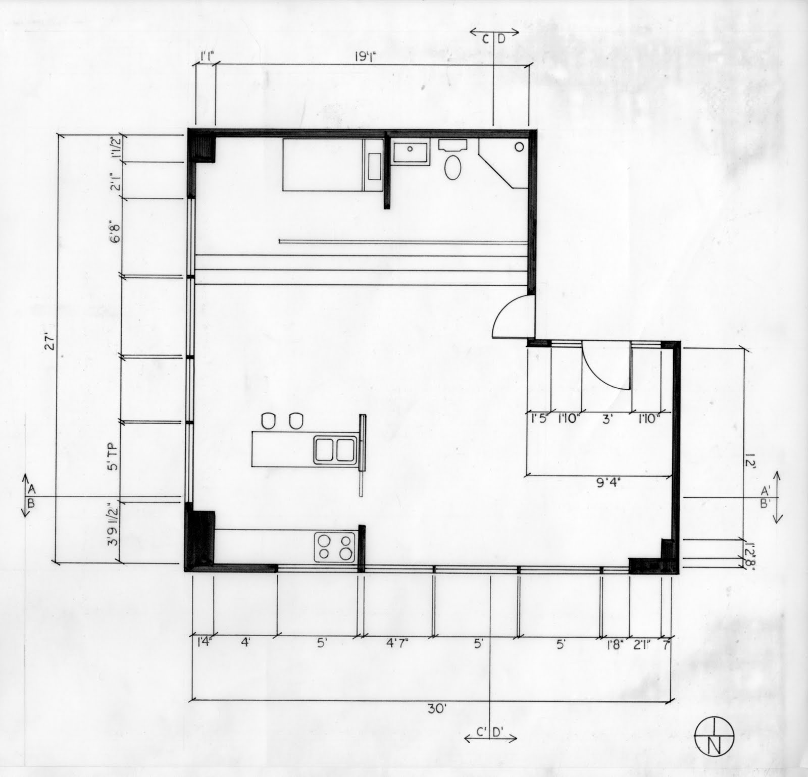 Floor Plan Elevation And Section : Cmb studio space final floor plan and section elevation